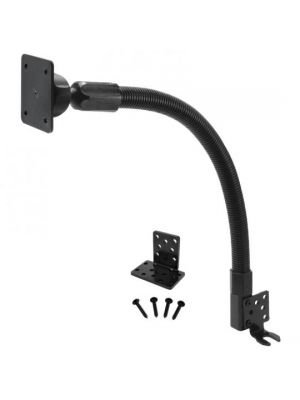 GN088-SBH-AMPS | Arkon 18in Flexible Metal Gooseneck Seat Rail / Floor Mount with 4 Hole AMPS on 22mm Ball Head