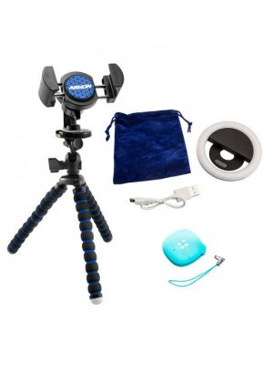 SBZ01 | Arkon 3-in-1 Mount Bundle with Phone Tripod, Selfie Ring Light, and Sonic Shutter